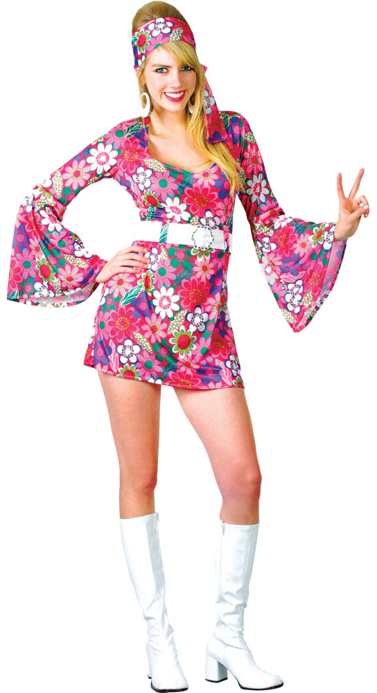 Adult-Ladies-Hippy-Fancy-Dress-Costume-1960s-1970s-Womens-Hippie-Outfit-UK-6-24