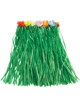 View Item Short 50cm Green Hawaiian Grass Skirt Flowers Fancy Dress Hula Tropical Costume