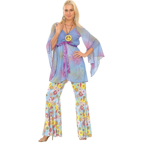 Adult-Ladies-Hippy-Fancy-Dress-Costume-60s-70s-Hippie-Flares-Top-Outfit-UK-6-28