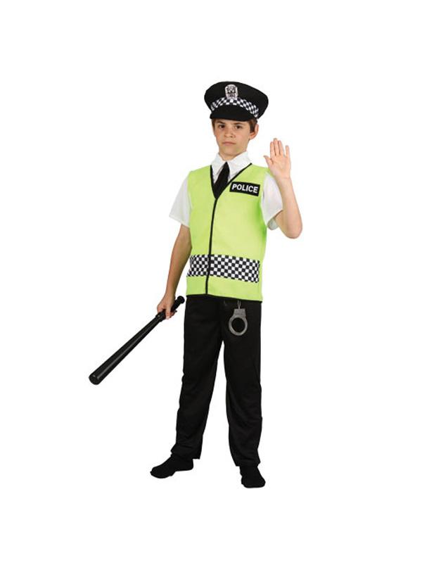 Policeman + Hat Boys Fancy Dress Police Cop Uniform Kids ...