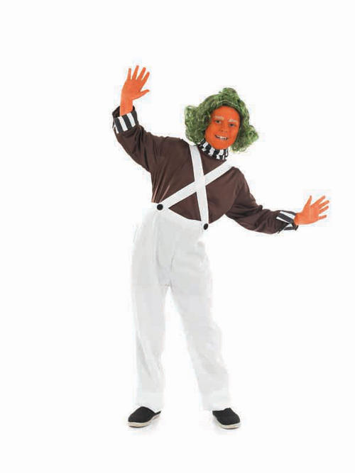 Child umpa lumpa factory worker fancy dress costume kids boys male