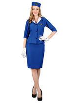 Ladies Blue Air Hostess Costume