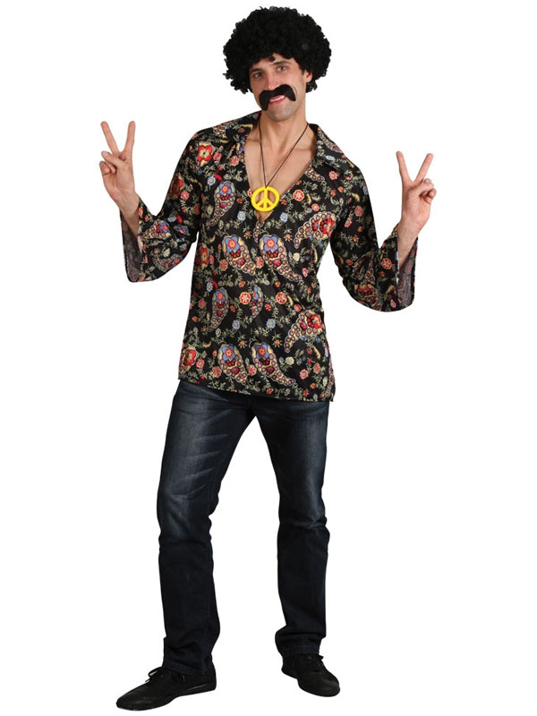 Adult Retro Hippie Shirt Hippy Groovy Cool 60s 70s Fancy Dress ...