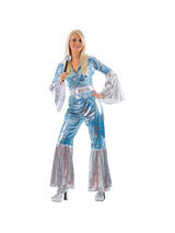 Ladies Blue  Silver Waterloo Jumpsuit Costume
