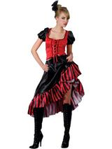 Ladies Black and Red Burlesque Costume