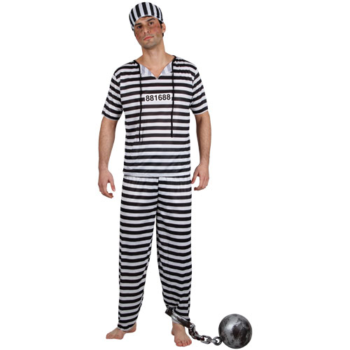 Prisoner Break Convict Inmate Fancy Dress Costume Jailbird Burglar ...
