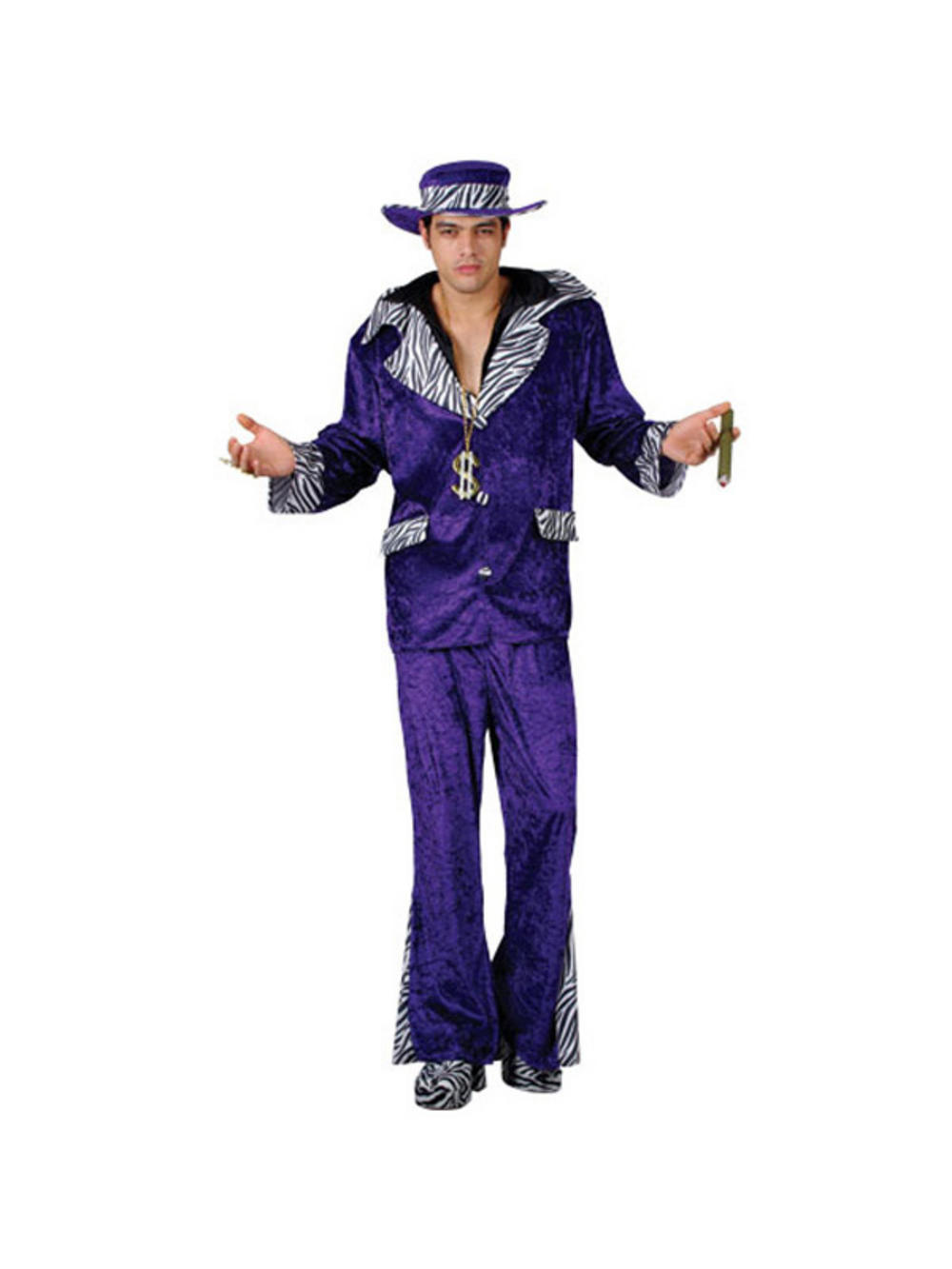 ... Purple Big Pimp Daddy 70s Velvet Ganster Bling Fancy Dress Costume