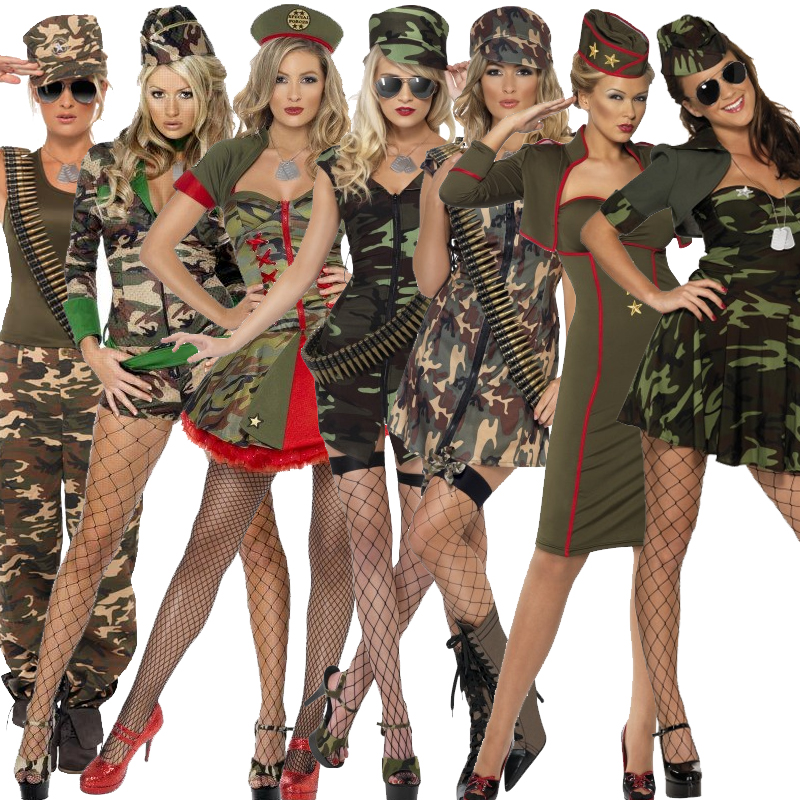 Adult-Ladies-Army-Girl-Fancy-Dress-Combat-Military-Uniform-Costume-Female-Womens