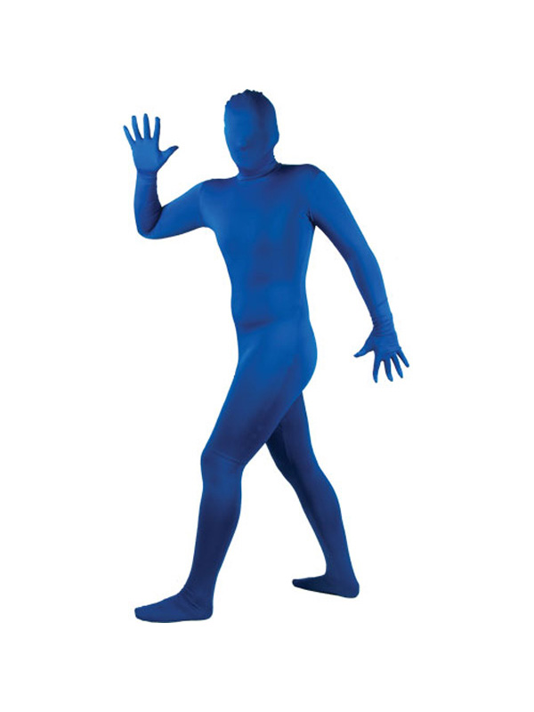 Adult-Skinz-Blue-Lycra-Bodysuit-Spandex-Skin-Suit-Fancy-Dress-Costume-Unisex-BN