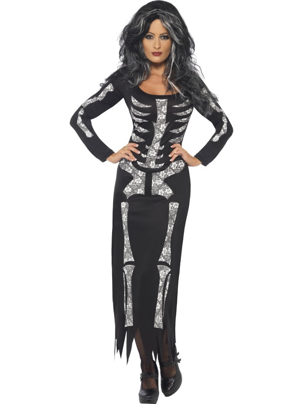 Adult-Ladies-Sexy-Skeleton-Bone-Long-Costume-Halloween-Womens-Fancy-Dress-Outfit