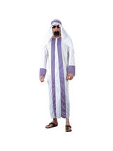 Men's White And Purple Arab Costume