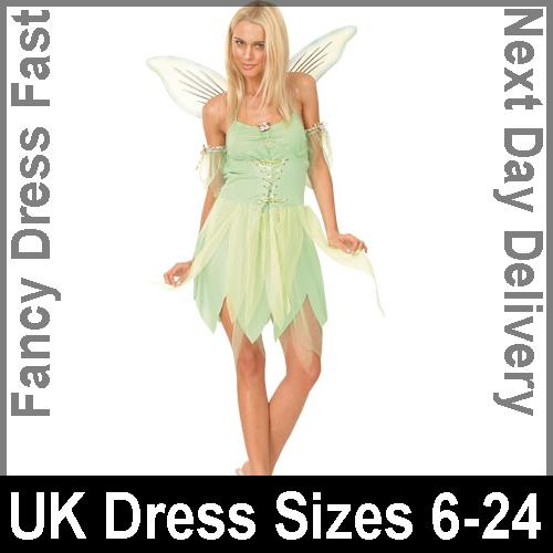 Adult Ladies Neverland Fairy Fancy Dress Tinkerbell Costume (UK Sizes 6-24)