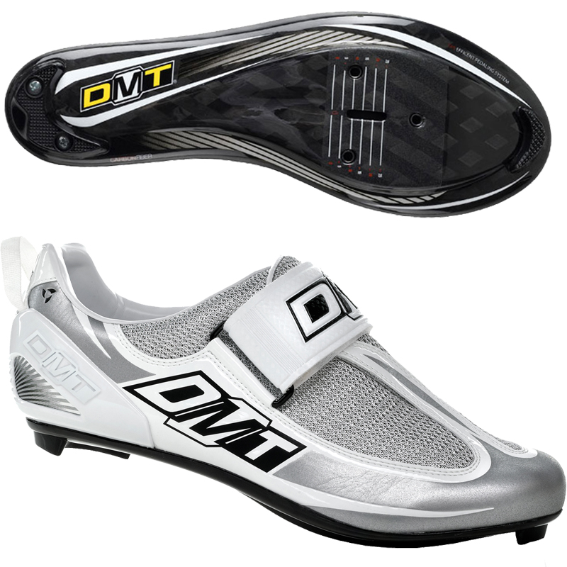 DMT-Mens-Tri-2-0-triathlon-Comp-Carbon-sole-Road-race-Bike-Shoes-White-Silver