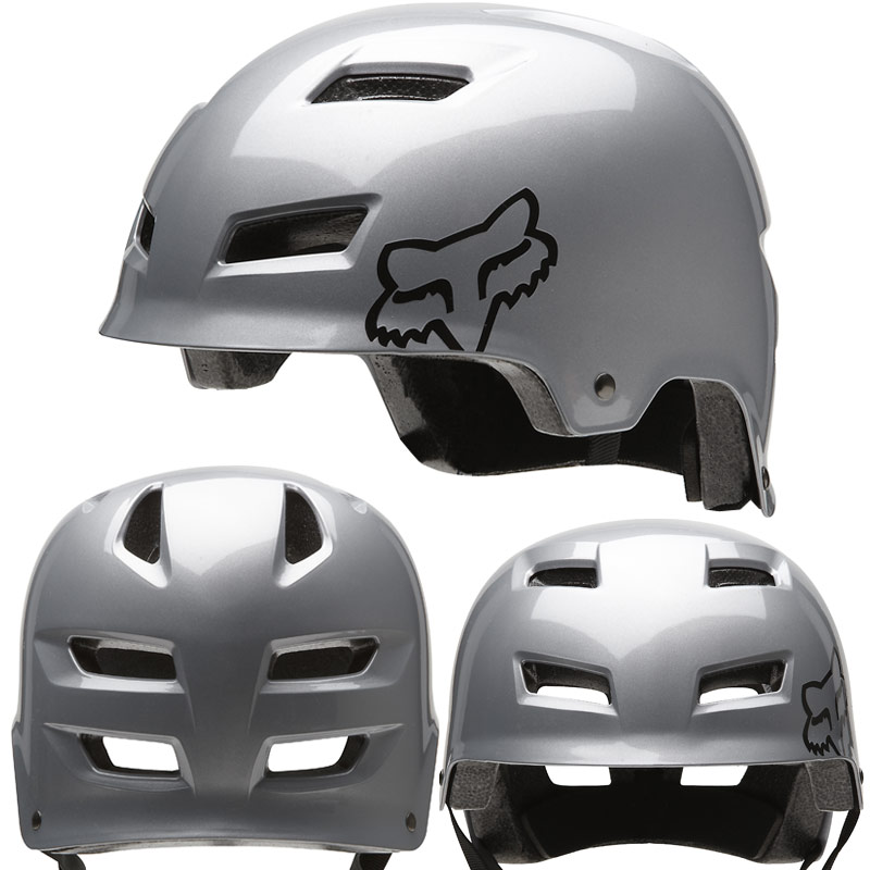 2012 Fox Transition Hard Shell MTB BMX DIRT JUMP Skate Bike Helmet Silver Small Enlarged Preview