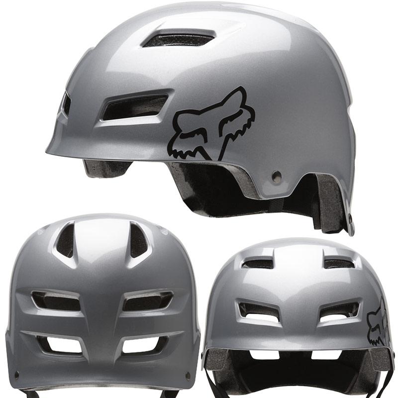 2012 Fox Transition Hard Shell MTB BMX DIRT JUMP Skate Bike Helmet Silver Small Enlarged Preview