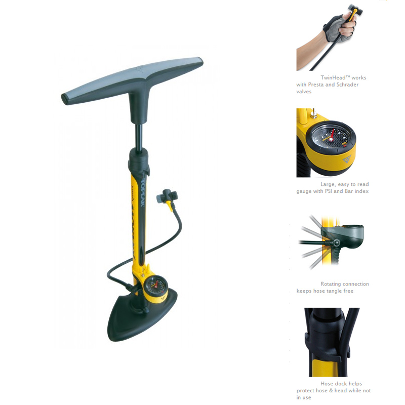 Topeak Joe Blow Sport II Track Floor Pump With Gauge Yellow Enlarged Preview