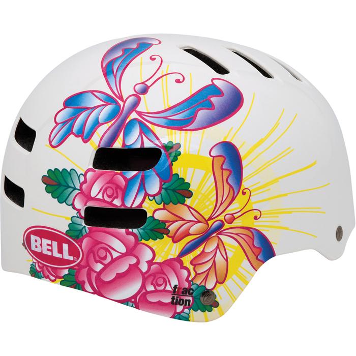 2013 bell fraction kinder bmx radsport fahrradhelm helm weiss butterfly. Black Bedroom Furniture Sets. Home Design Ideas