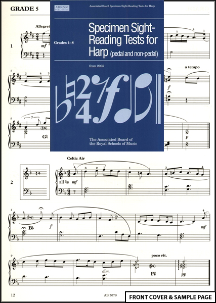 Harp Sight Reading Tests ABRSM Sheet Music Book NEW Enlarged Preview