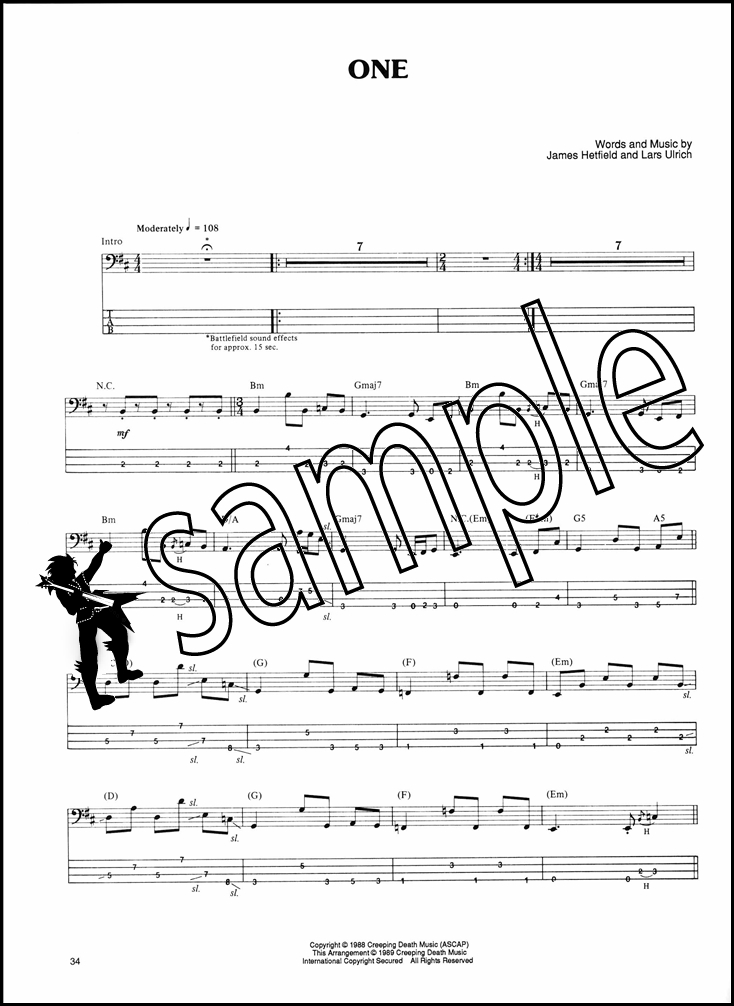 how to play one by metallica on guitar tabs