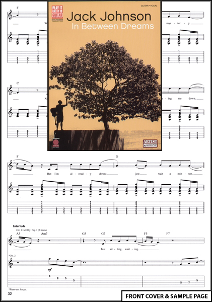 Jack Johnson In Between Dreams Guitar TAB Music Book Enlarged Preview