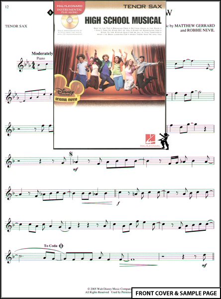 High School Musical Tenor Sax Sheet Music Book +CD NEW Enlarged Preview