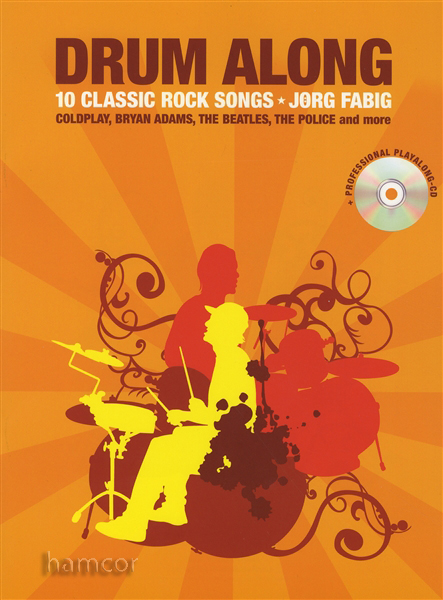 Drum Along 10 Classic Rock Songs Music Book/CD Oasis Beatles The Cure Coldplay Enlarged Preview