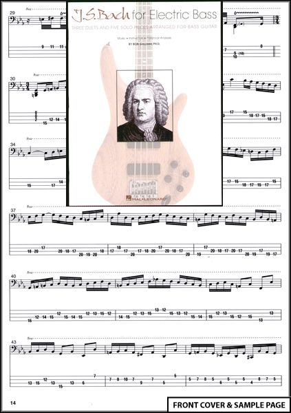 JS Bach for Electric Bass Guitar TAB Sheet Music Book Enlarged Preview