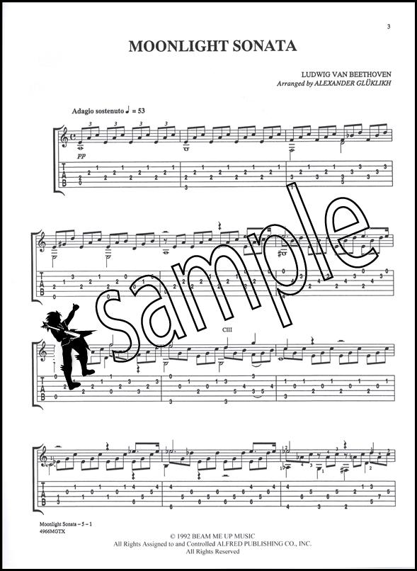 Moonlight Sonata Classical Guitar TAB Sheet Music Beethoven | eBay
