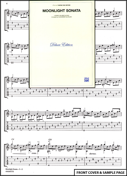 Moonlight Sonata Classical Guitar Tab Sheet Music NEW Enlarged Preview
