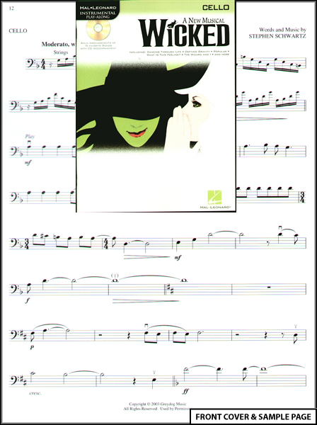 Wicked A New Musical for Cello Sheet Music Book +CD Enlarged Preview