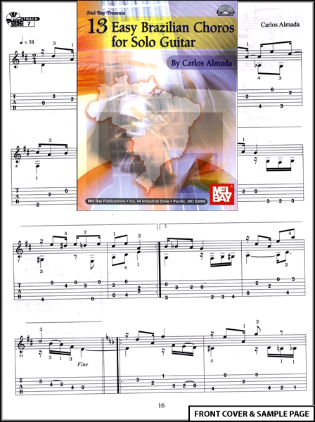 13 Easy Brazilian Choros for Solo Guitar TAB +CD NEW Enlarged Preview