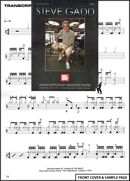 Steve Gadd Transcriptions Drum Drumming Music Book NEW Enlarged Preview
