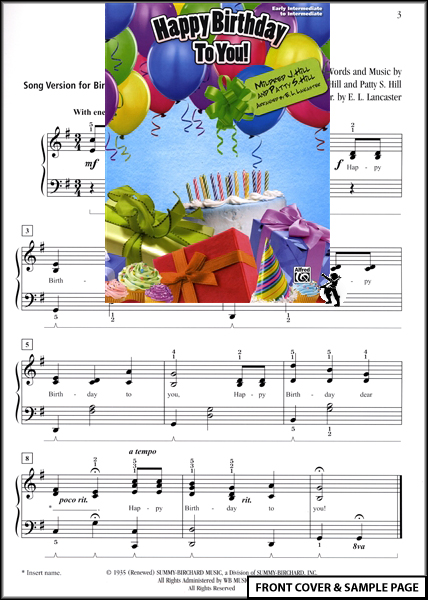 Happy Birthday to You Early Intermediate Piano Music Enlarged Preview