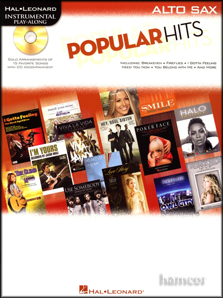 Popular Hits Instrumental Play-Along Alto Sax Saxophone Pop Sheet Music Book &CD Enlarged Preview