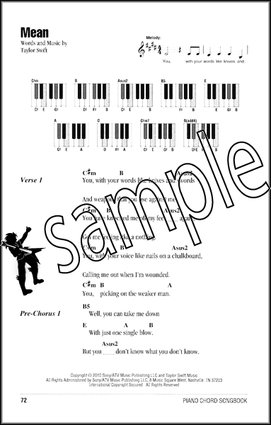 Piano piano tablature songs : Taylor Swift Piano Chord Songbook Learn to Play 40 Songs Music ...