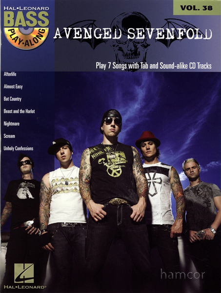 Avenged Sevenfold Bass Guitar Play-Along Volume 38 TAB Book & CD Johnny Christ Enlarged Preview