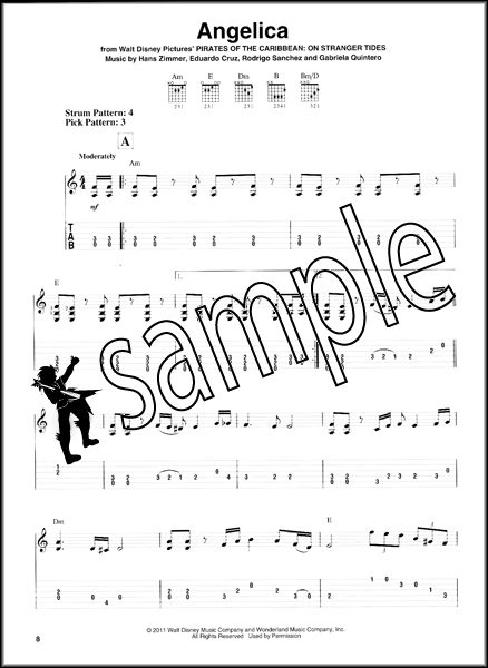 Pirates of the Caribbean Easy Guitar TAB Music Book with Notes u0026 Chords