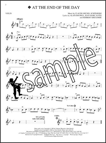 Les Miserables Instrumental Play Along Violin Sheet Music