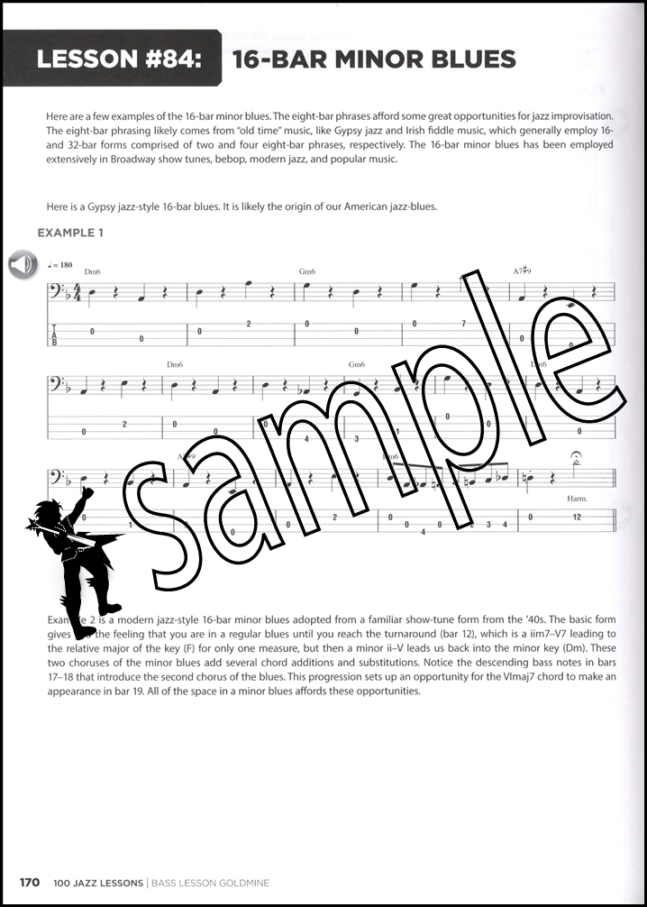 100 Jazz Lessons Bass Guitar / Double Bass Goldmine TAB