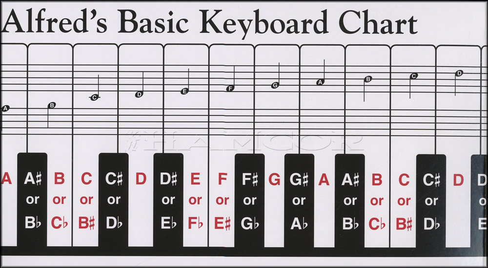 Alfred 39 s basic keyboard chart for piano or keyboard with for Grand piano size chart