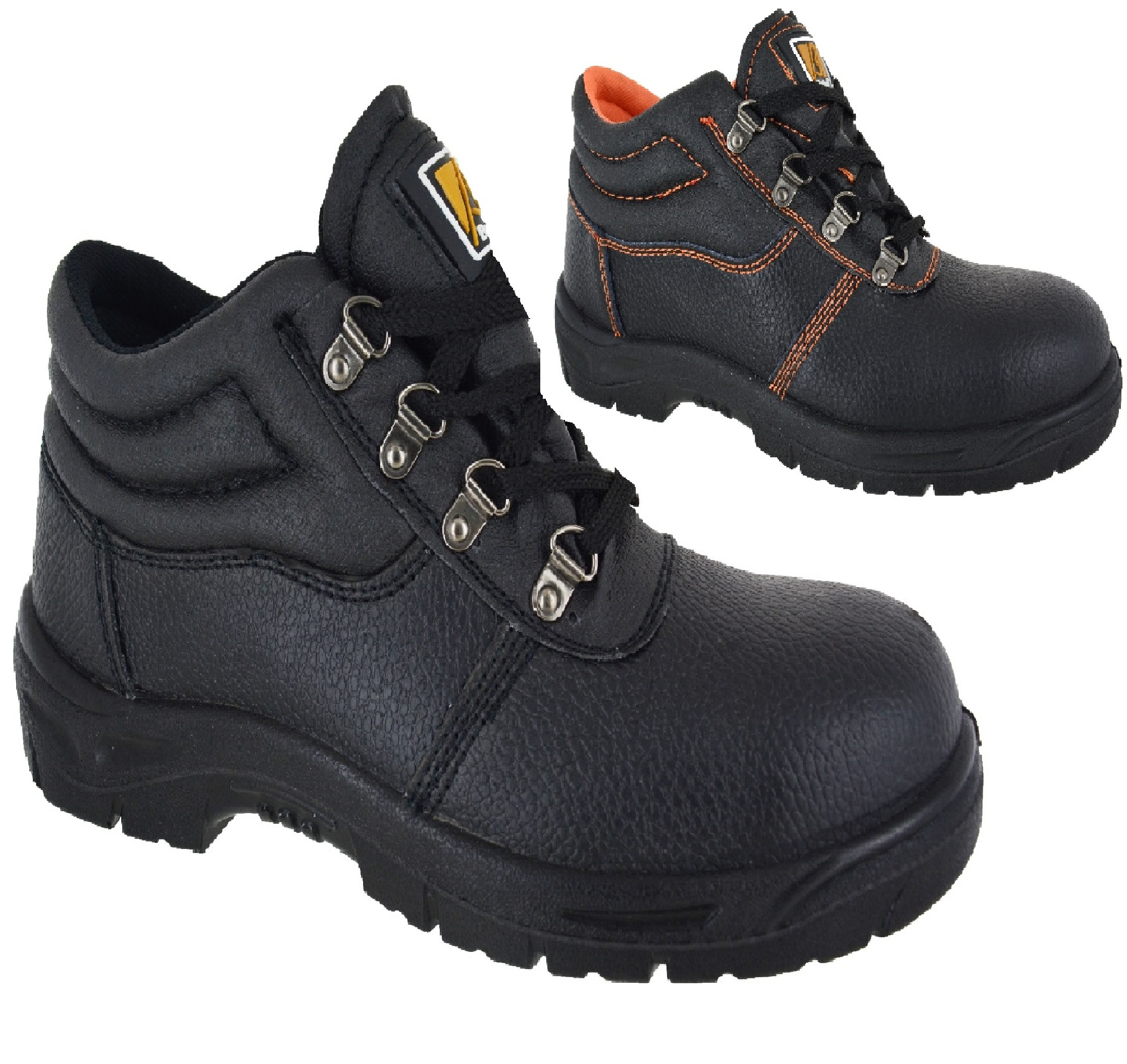 MENS STEEL TOE CAP BLACK LEATHER WORK BOOTS SAFETY LACE UP LIGHT WEIGHT SHOES SZ