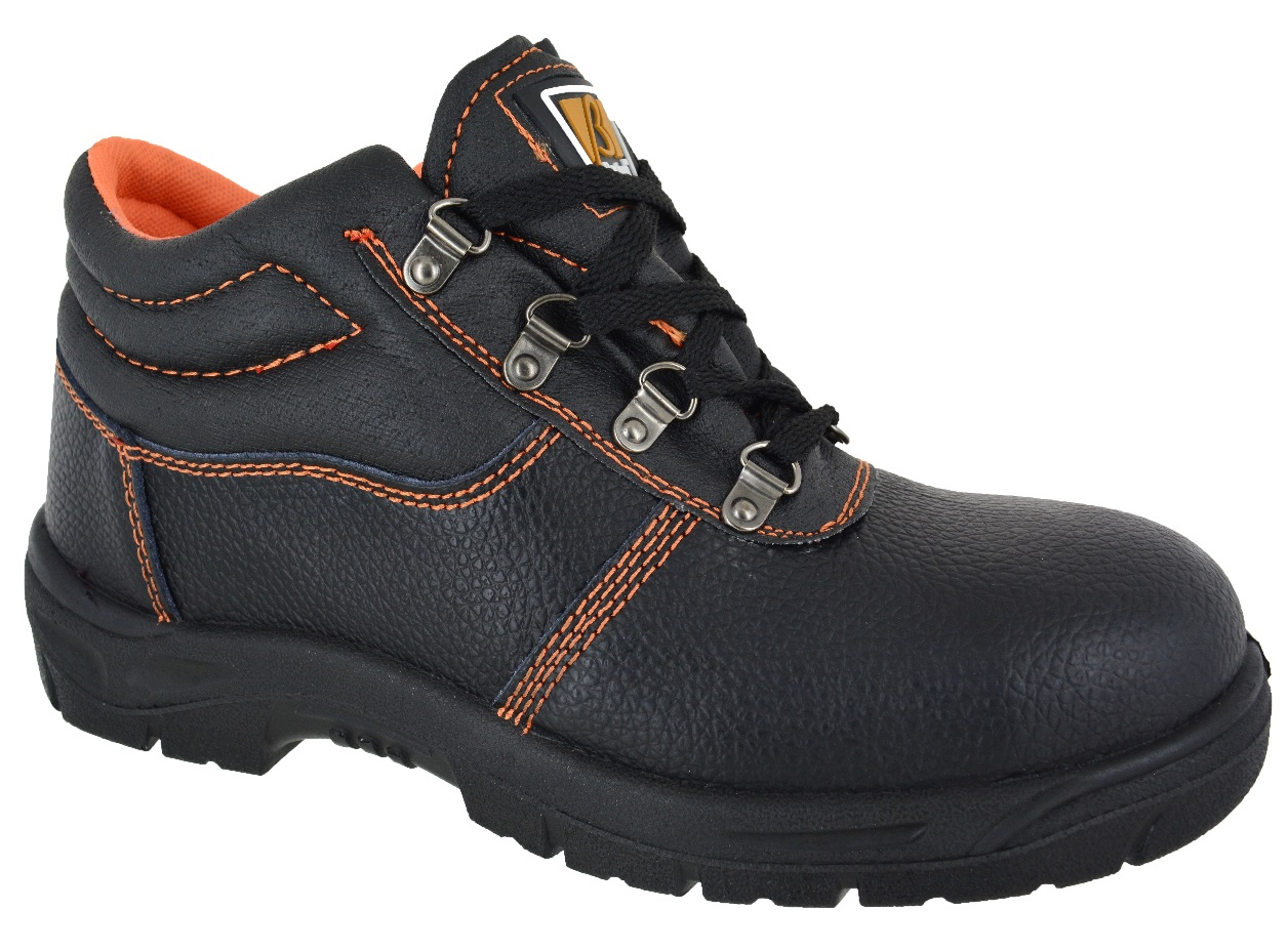 MENS STEEL TOE CAP BLACK LEATHER WORK BOOTS SAFETY LACE UP LIGHT WEIGHT SHOES SZ | EBay