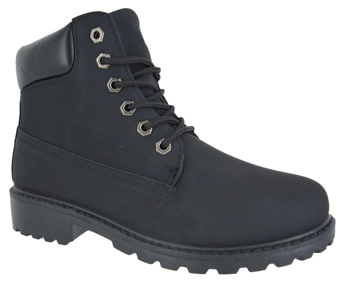 Ninos-Chicos-Chicas-Suela-Agarre-Planas-acordonadas-al-Tobillo-Zapatillas-Zapatos-Botas-De-Invierno