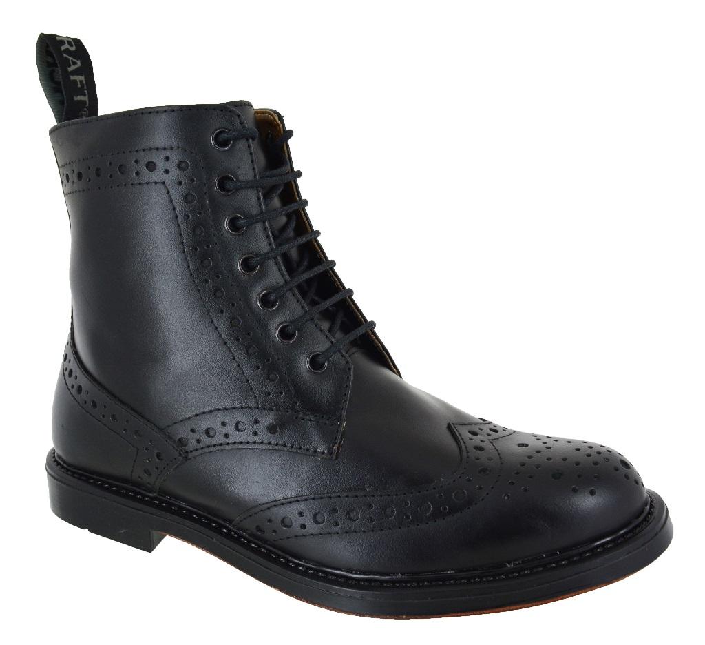new mens chelsea dealer lace up brogue black leather