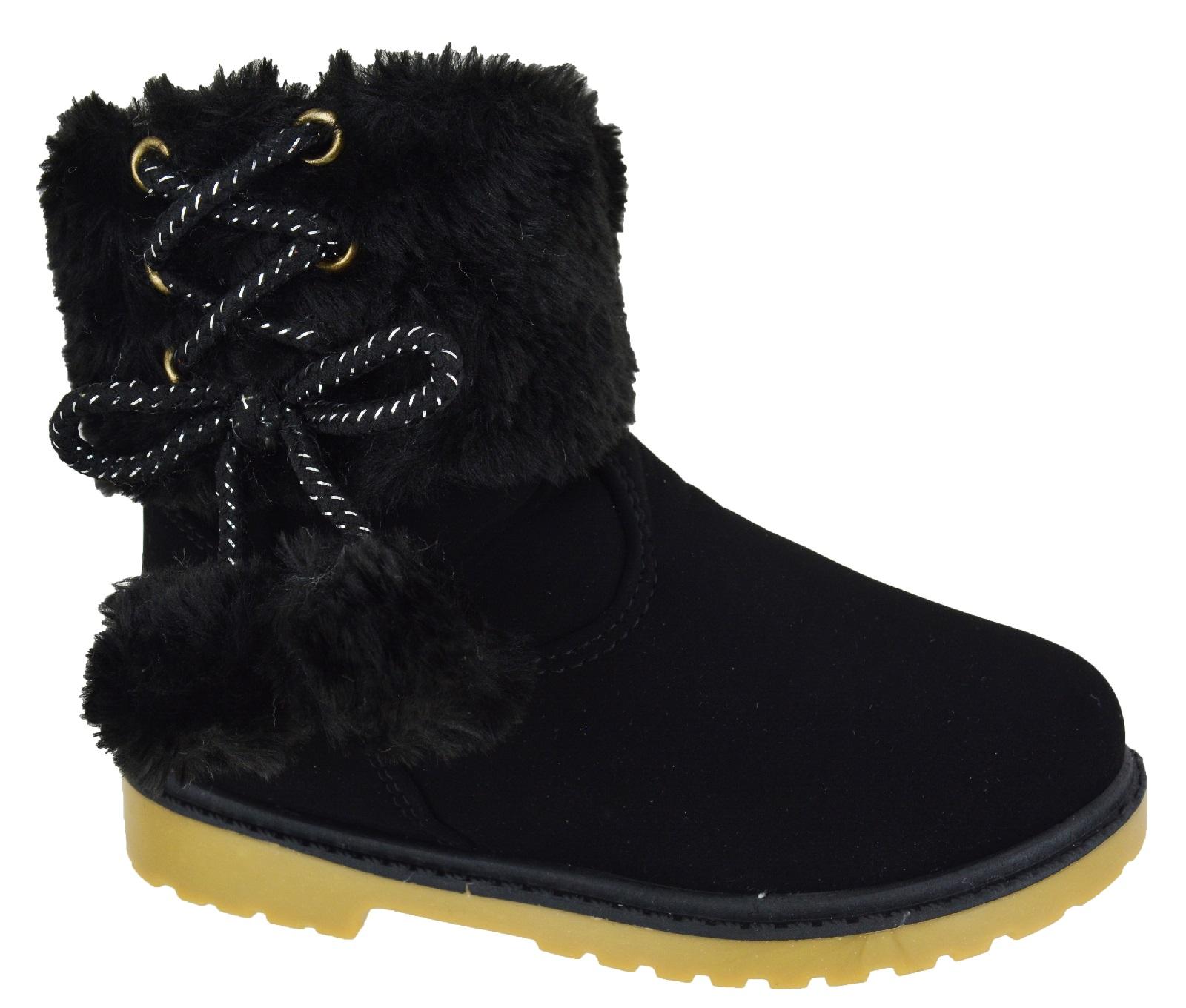 infants winter warm faux fur linned ankle zip