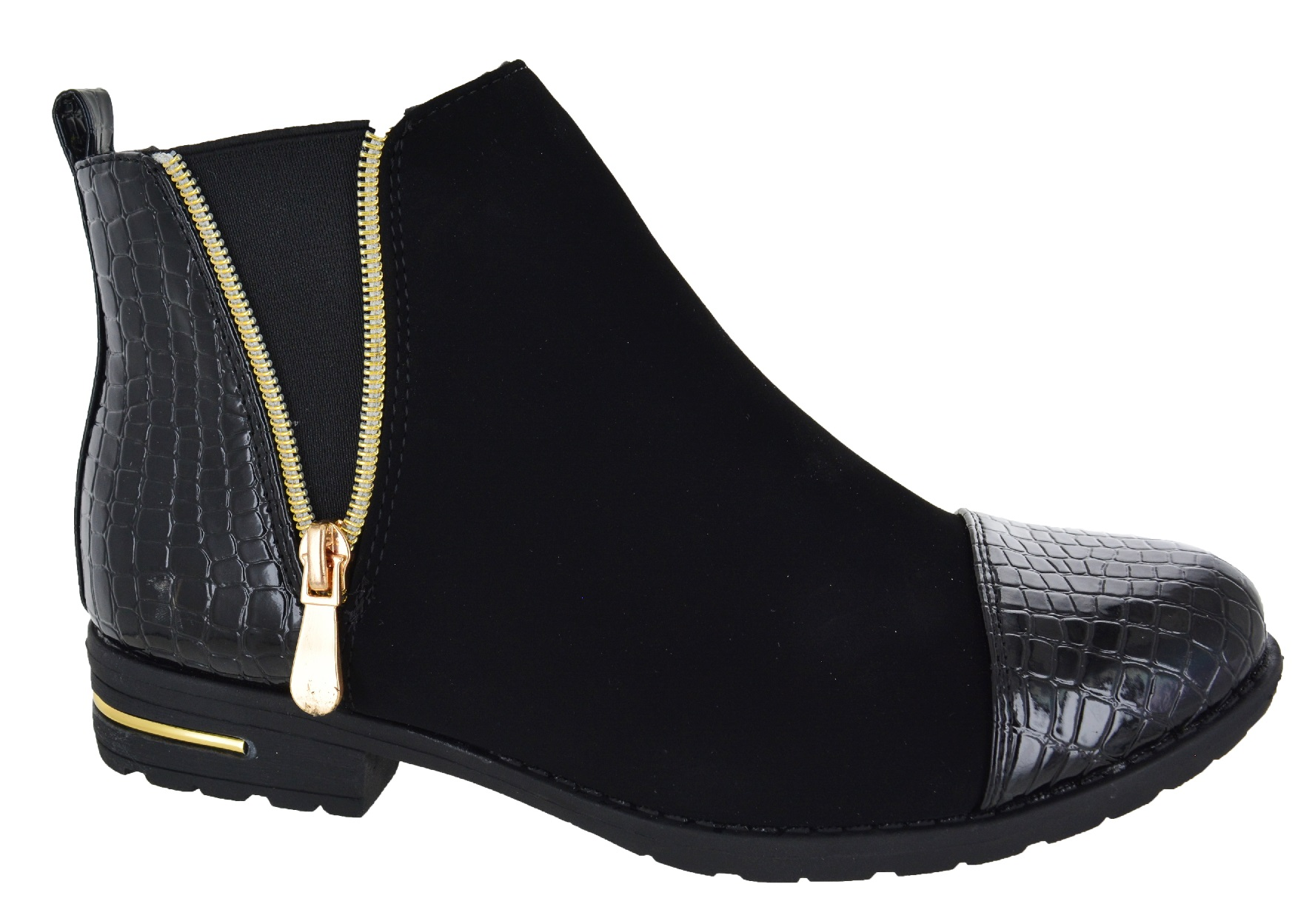 womens chelsea ankle black croc flat low heel zip