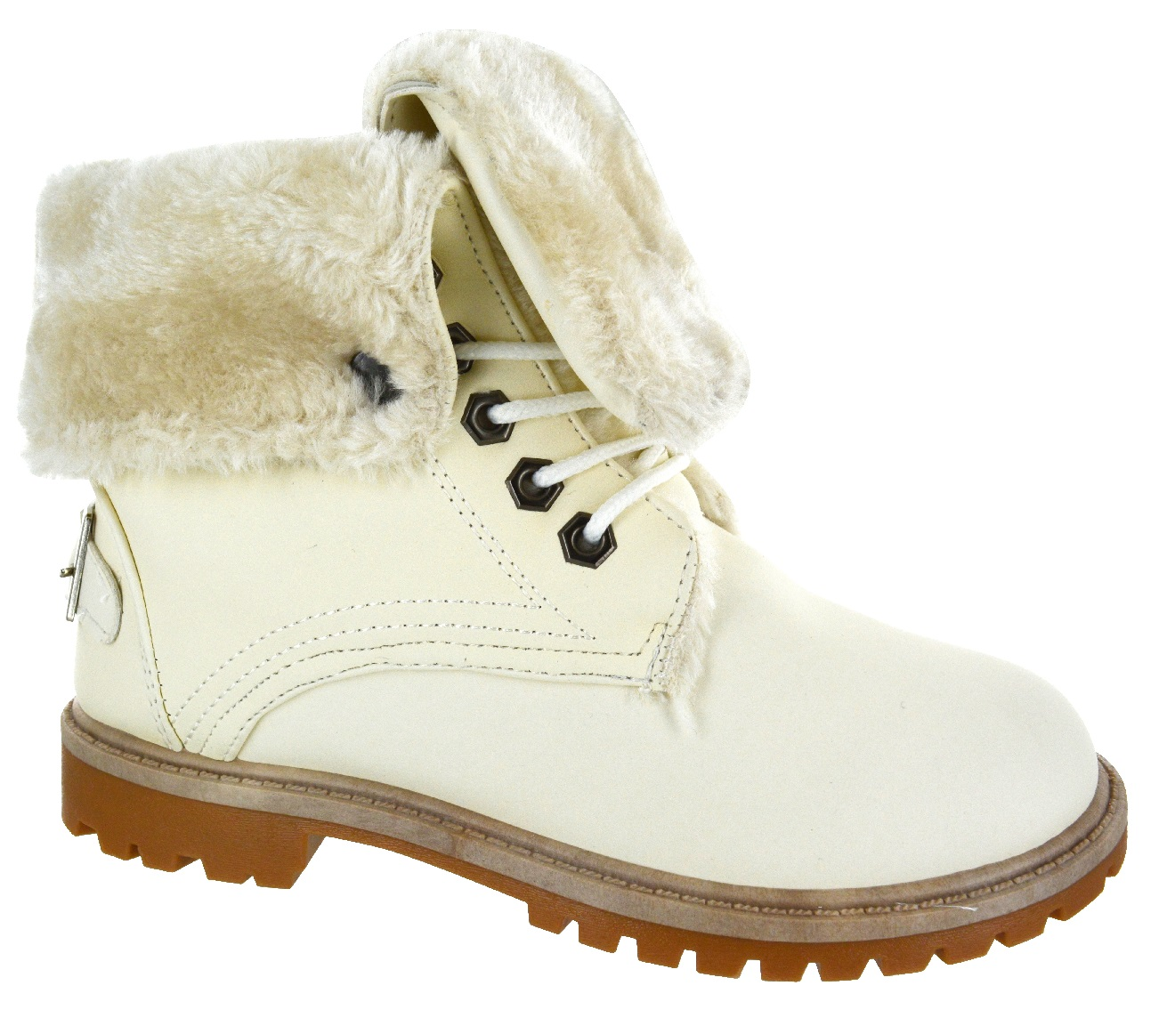 womens flat fur lined grip sole winter army combat