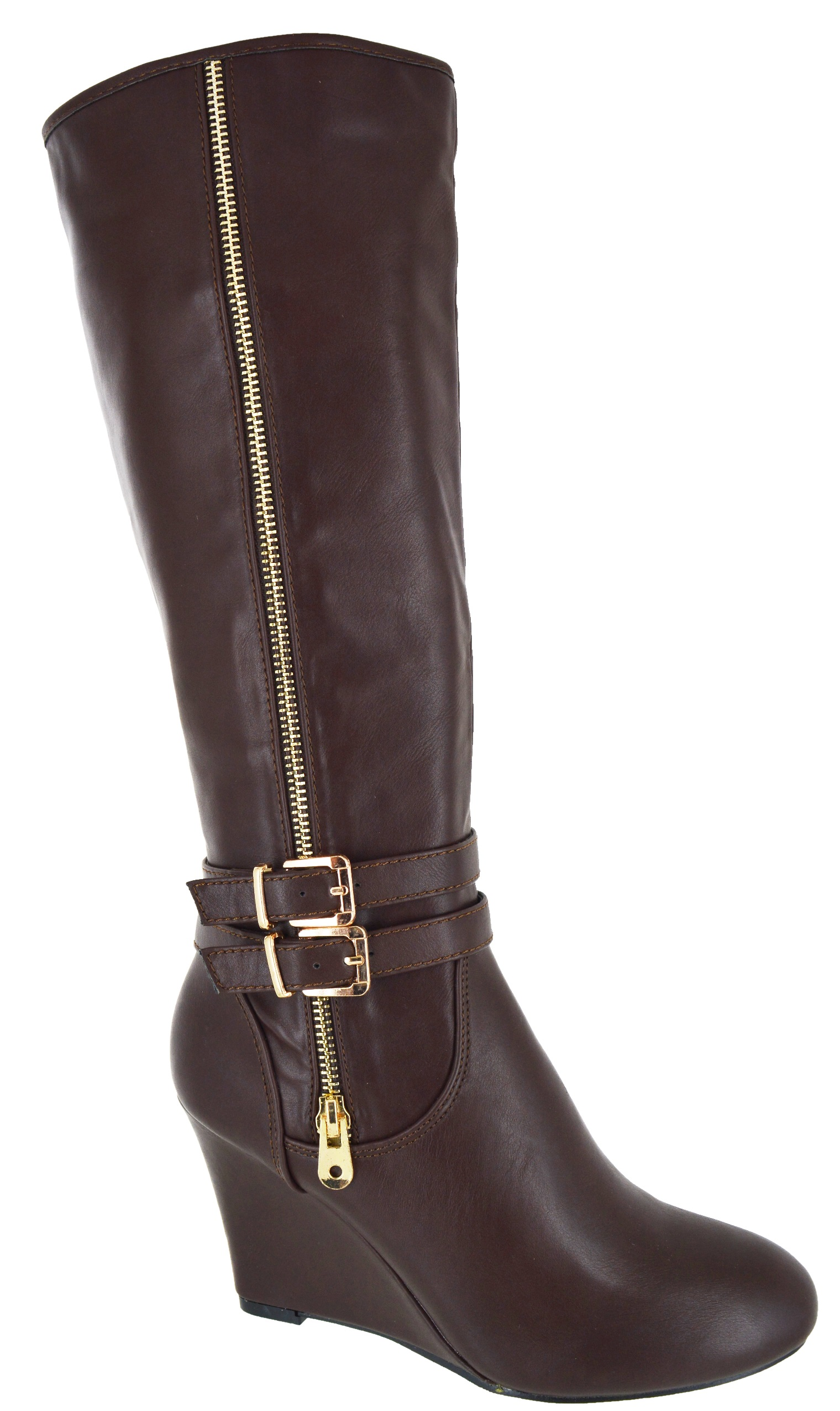 womens new faux suede wedge knee high boots black