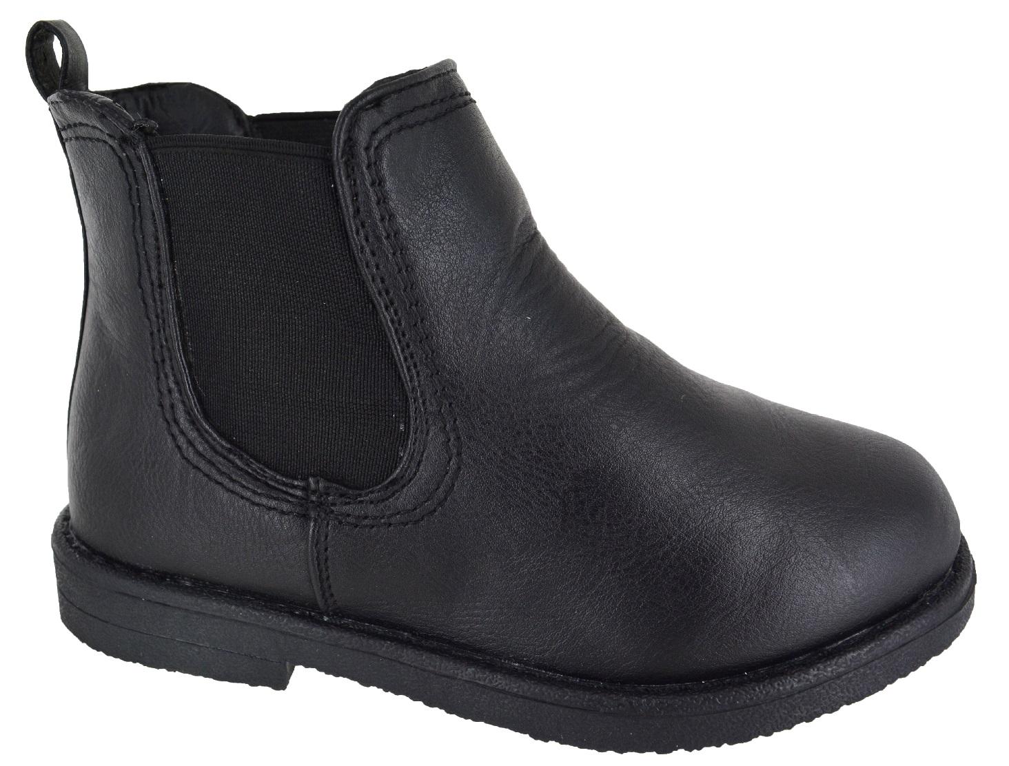 boys slip on ankle chelsea desert black school