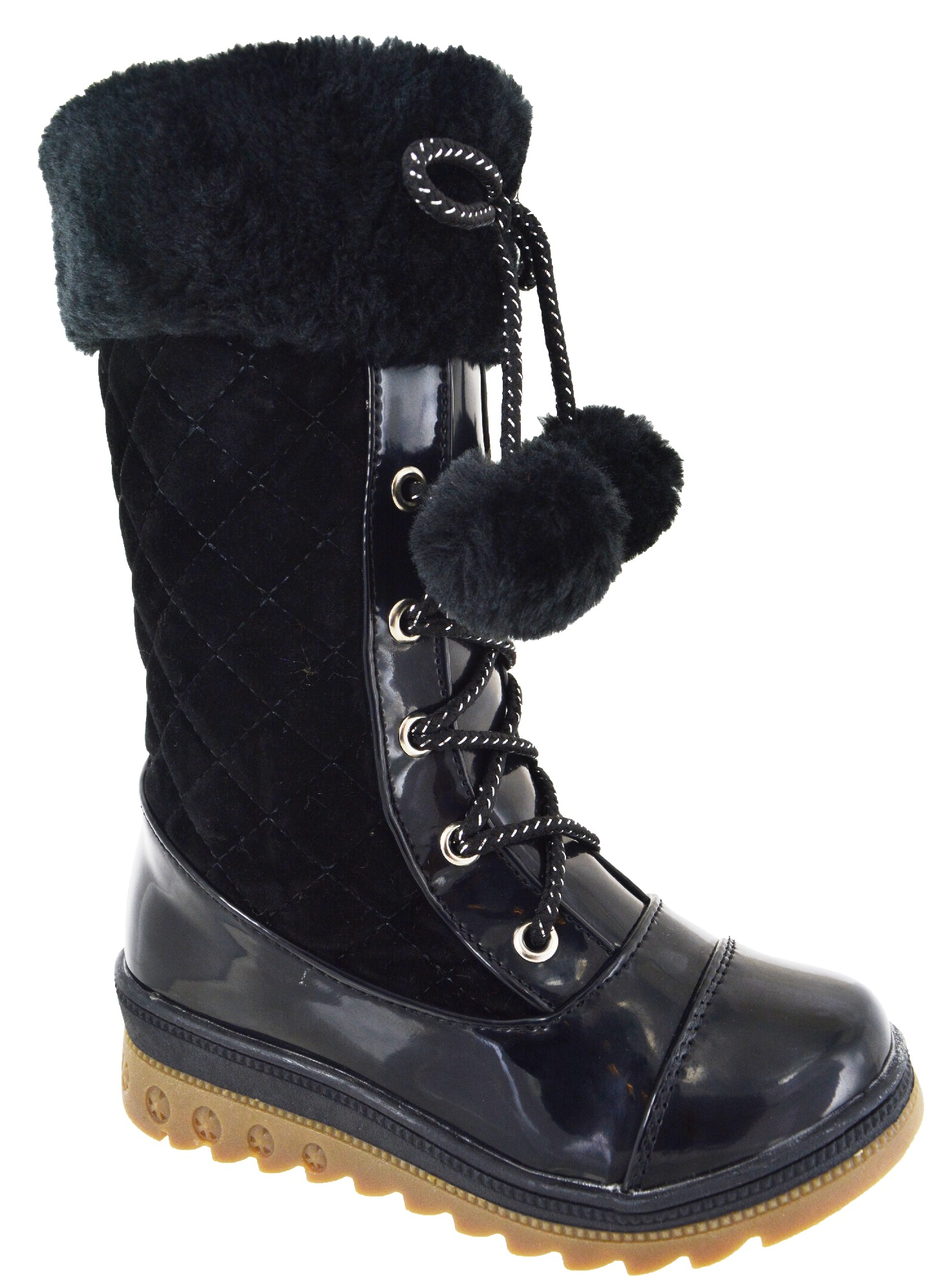 New Kids Mid Calf Fashion Girls Winter Warm Low Heel Wedge